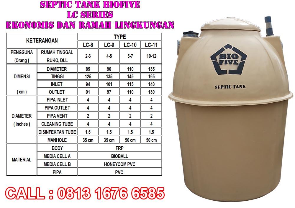 Ukuran Septic Tank biofive lc